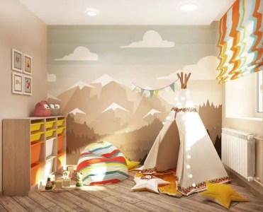 Playroom-with-teepee-floor-cushions-and-bean-bag