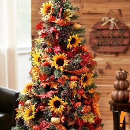 07-a-bright-thanksgiving-tree-with-pinecones-mini-pumpkins-plaid-ribbons-bright-faux-leaves-and-sunflowers