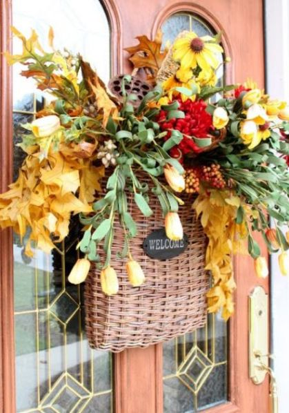 12-a-basket-with-fall-leaves-berries-bloos-greenery-and-flowers-is-a-great-door-decoration-instead-of-a-wreath