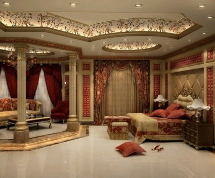 17-luxury-ceiling-designs-for-master-bedroom-with-red-curtains