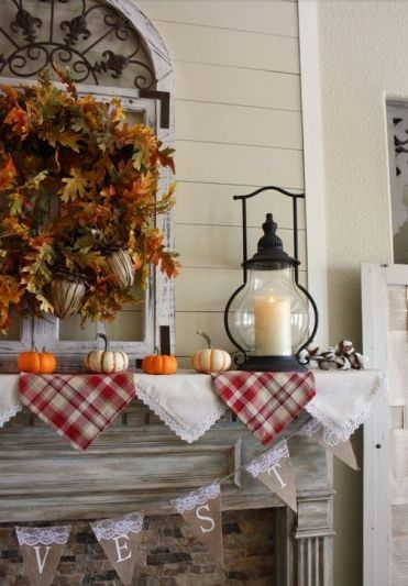 21-plaid-and-lace-bunting-faux-leaf-and-acorn-wreath-small-pumpkins-and-a-candle-lantern