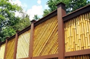 Angled-backyard-ideas-for-bamboo-fence