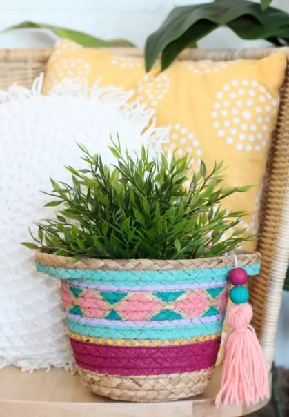 Diy-painted-basket-planter
