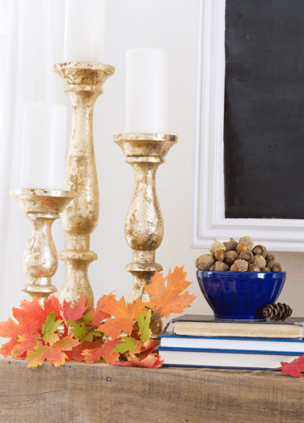 Fall-mantel-with-gold-candlesticks