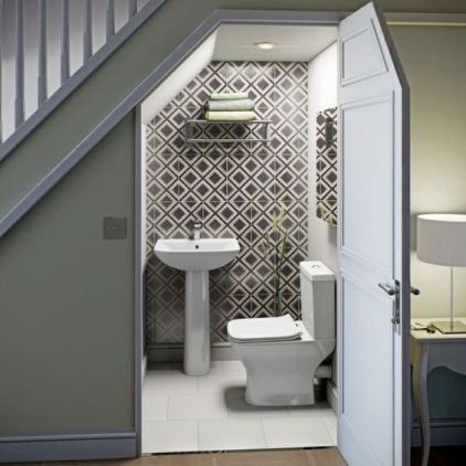 02-a-contemporary-powder-room-done-with-geometric-tiles-a-wall-mounted-shelf-for-storage
