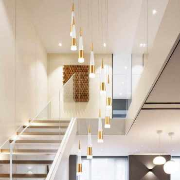 Contemporary-interior-staircase-lighting-beautiful-chandeliers