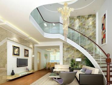 Living-room-with-staircase-and-striking-cascading-chandelier