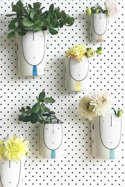 Wand-Pflanzgefäße-bemalte-Vase-Druck-Keramik