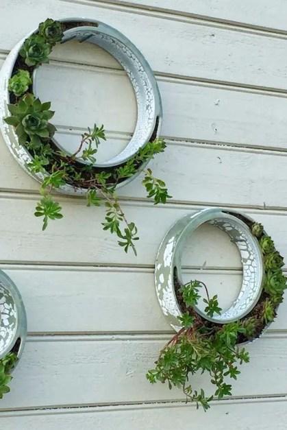 Wand-Pflanzgefäße-Ringe-montiert-Keramik-Outdoor