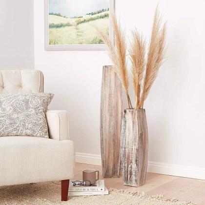 Wood-floor-vase-pampas-grass-decoration-inspiration-whitewashed-finish-vases-for-shabby-chic-coastal-decor-ideas