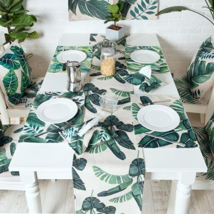 16-banana-leaf-print-placemats-and-a-table-runner-will-cheer-up-your-tablescape