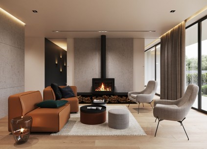Gray-contemporary-living-room-with-fireplace-and-brown-leather-chairs