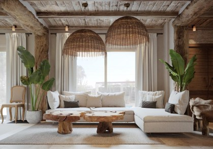 Bamboo-lighting-large-ferns-greek-style-living-room