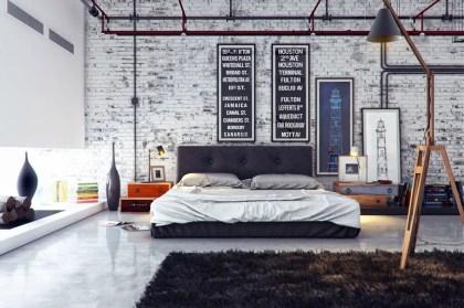 Industrial-bedroom-exposed-brick-walls