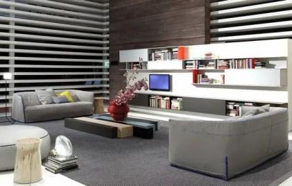 Living-room-design-ideas-gray-sofa-set-gray-carpet-white-wall-shelves
