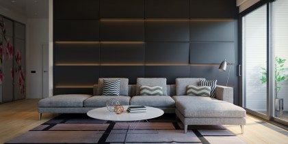 Mushroom-l-couch-black-panel-wall-sophisticated-living-room