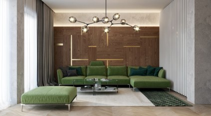 Pea-green-couches-modern-chandelier-vintage-living-room