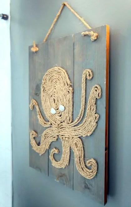 Seil-Oktopus-Wandkunst-auf-Holzplatte