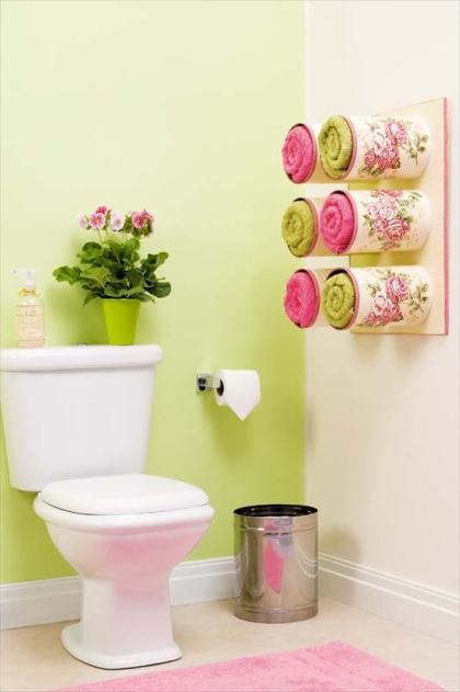 Tin-cans-towel-storage