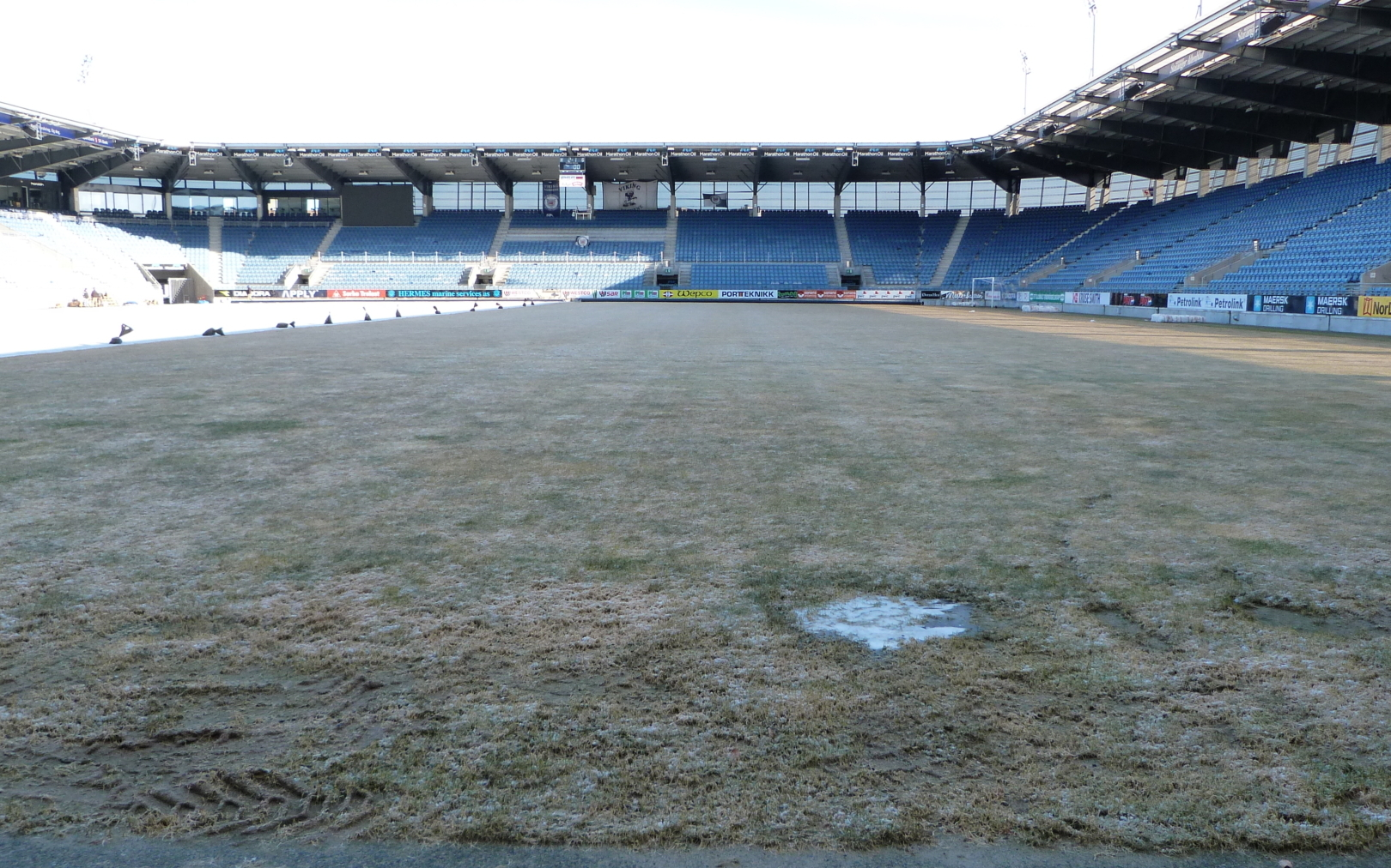 Frozen pitch at FK Viking before the installation of Matchsaver Covers