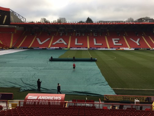 Charlton FC being covered by Matchsaver permeable covers