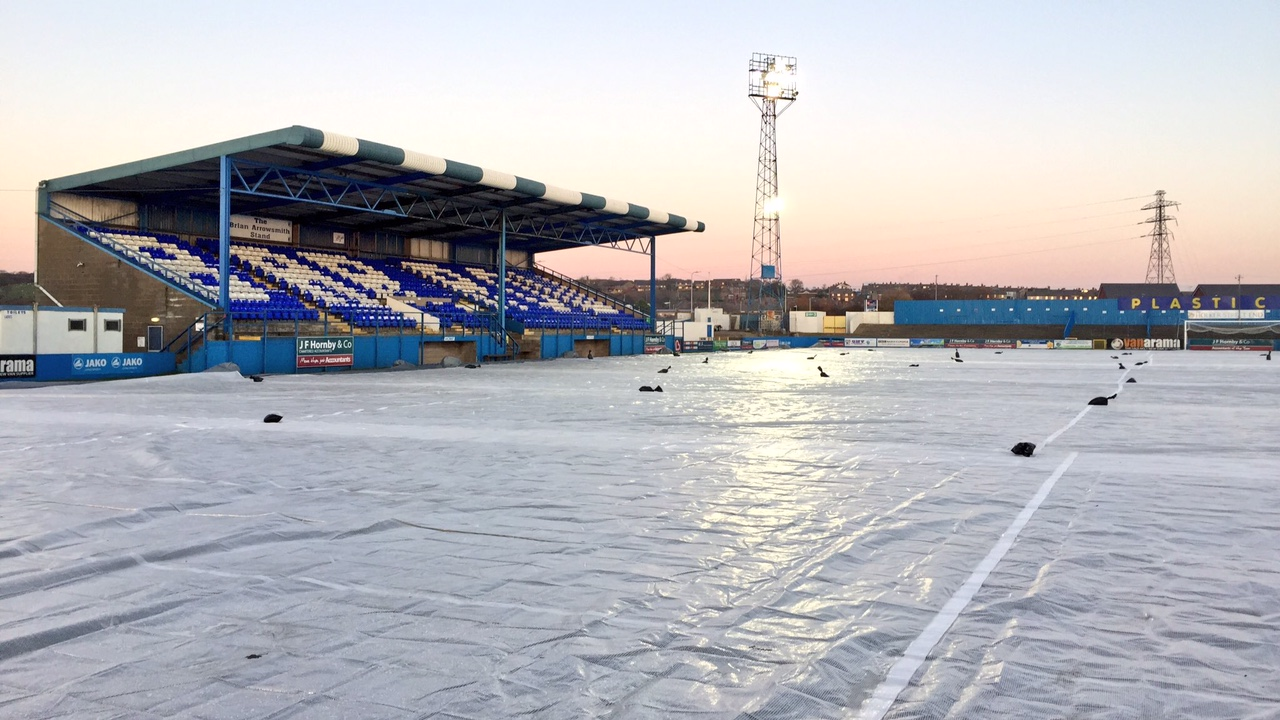 Matchsaver air roller pitch covers fully deployed at non-league Barrow AFC