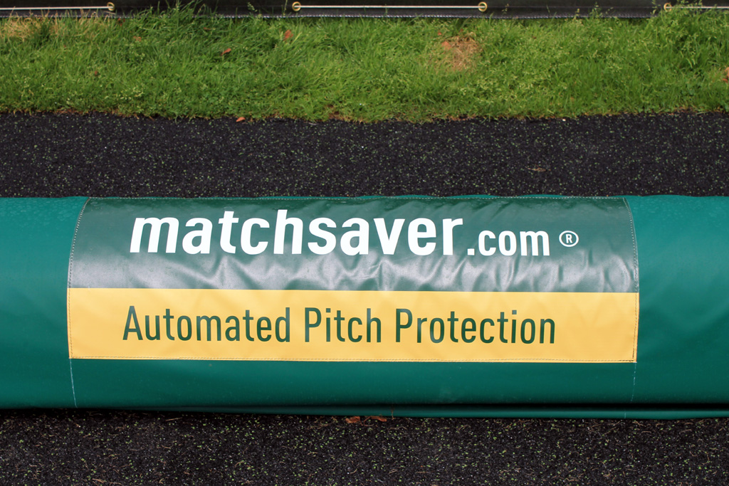 Matchsaver Automated Pitch Protection stored at Chelsea's training ground