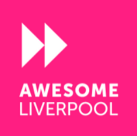 Awesome Liverpool Logo featuring the company name with a fast forward icon above it against a pink background