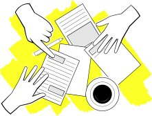 Illustration of multiple hands touching papers