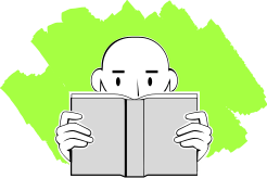 Illustration of Man reading a book