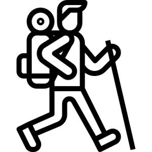 Icon of man hiking with backpack and walking stick