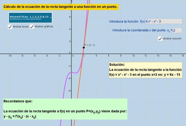 Calculo-ecuacion-recta-tangente-en-un-punto-con-geogebra-luismiglesias