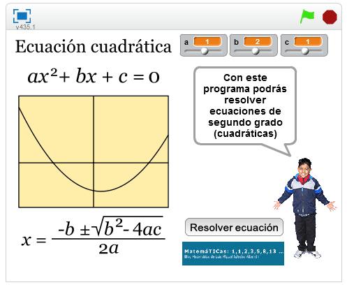 'Resolución ecuaciones cuadráticas (segundo grado) en Scratch'-luismiglesias