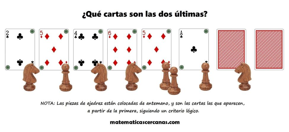 Acertijo con cartas y piezas de ajedrez