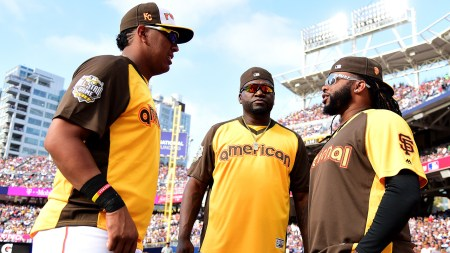SAN DIEGO, CA - JULY 11: (L-R) Salvador Perez #13 of the Kansas City Royals, David Ortiz #34 of the Boston Red Sox and Johnny Cueto #47 of the San Francisco Giants talk during the T-Mobile Home Run Derby at PETCO Park on July 11, 2016 in San Diego, California. (Photo by Harry How/Getty Images)