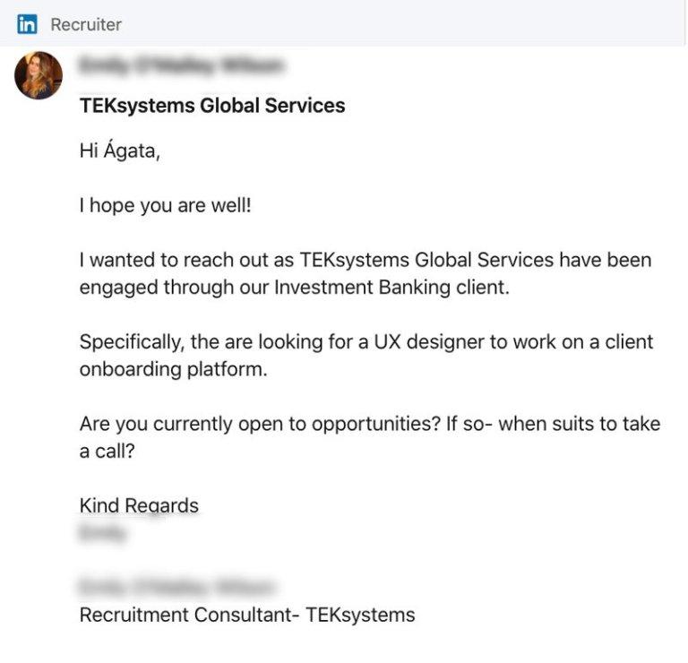 Proposta de emprego no LinkedIn | Des1gnON