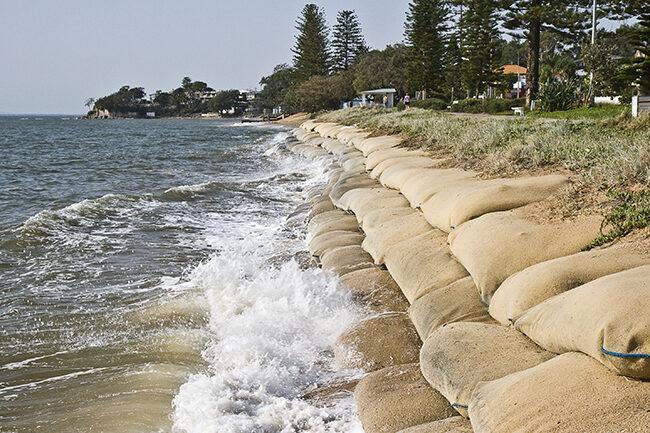 sandbags on beach