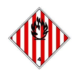 Etiqueta ADR clase 4.1 solidas inflamables, materias autorreactivas y materias sólidas explosivas desensibilizadas