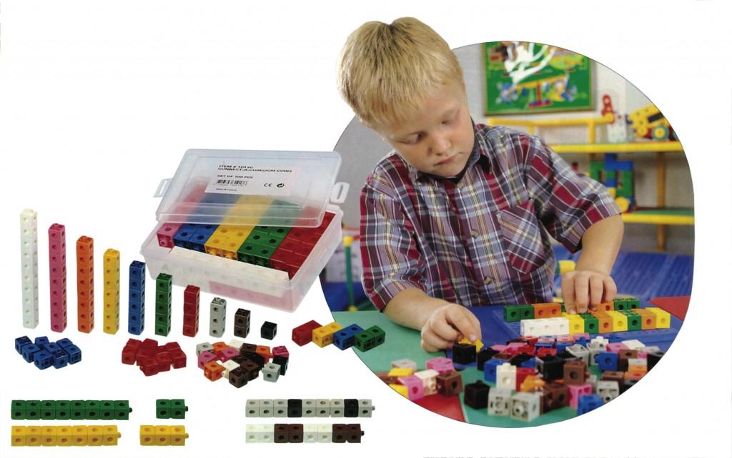 Cuburi colorate asamblabile 100 buc.