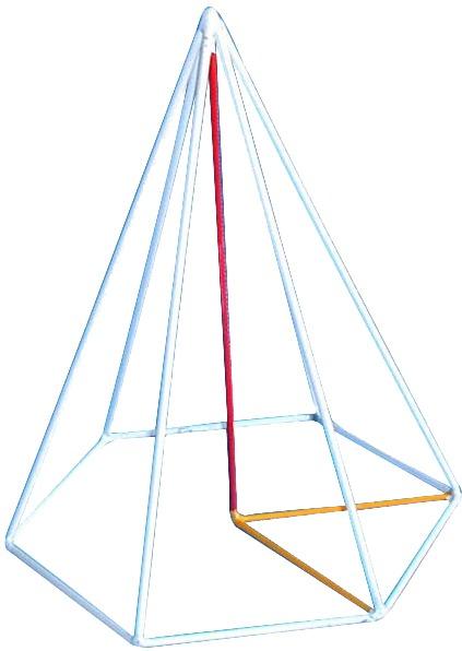 Piramida hexagonala regulata, model pe muchie 3