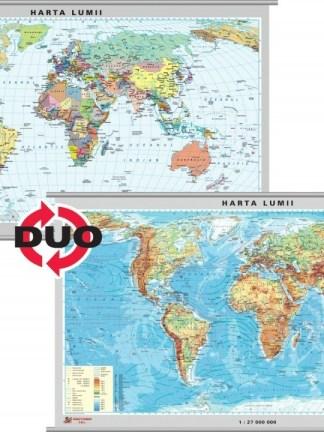 Harta fizica a Lumii - pe verso harta politica a Lumii