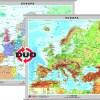 Europa - harta fizica - pe verso: harta politica a Europei