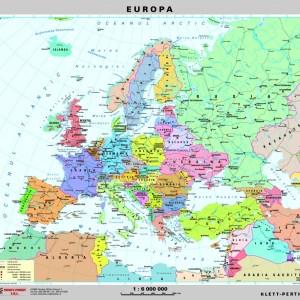 Europa - harta fizica - pe verso: harta politica a Europei 7