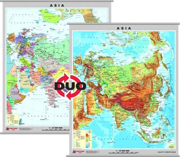Asia - harta fizica - pe verso: harta politica a Asiei 3