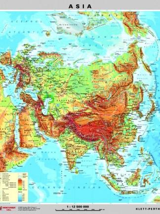 Asia - harta fizica - pe verso: harta politica a Asiei