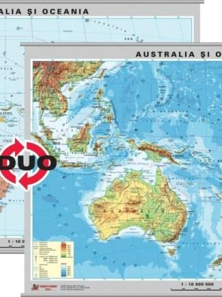 Australia - Noua Zeelanda - harta fizica - pe verso : harta politica a zonei