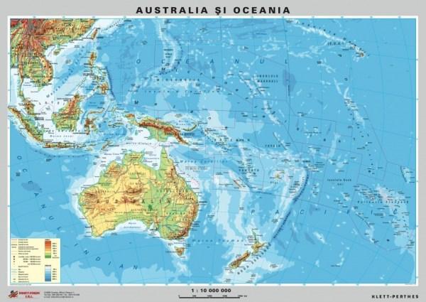 Australia - Noua Zeelanda - harta fizica - pe verso : harta politica a zonei 4