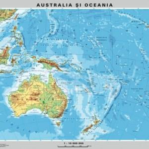 Australia - Noua Zeelanda - harta fizica - pe verso : harta politica a zonei 6