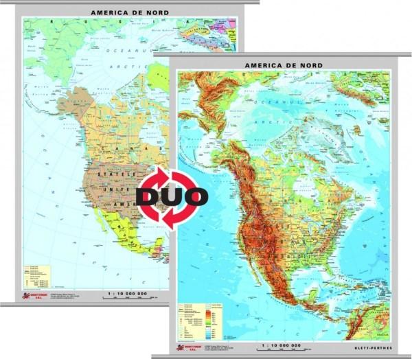 America de Nord - harta fizica - pe verso: harta politica a Americii de Nord 3