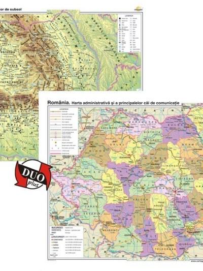 Romania. Harta fizico-geografica si a resurselor naturale de subsol si Romania. Harta administrativa si a principalelor cai de comunicatie